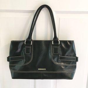 NINE WEST Vegan Leather Tote Shoulder Bag Black